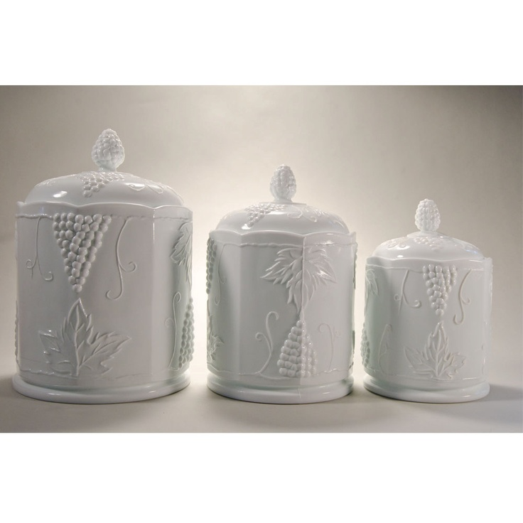 Vintage Indiana Glass Company Harvest Grape Or Colony Harvest Milk Glass  Canister Set. $65.00,