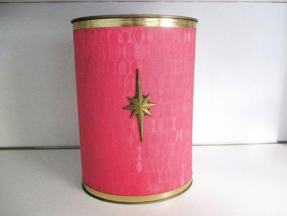 Reserved-Bright Pink Vintage Mid Century Bathroom Trash ...