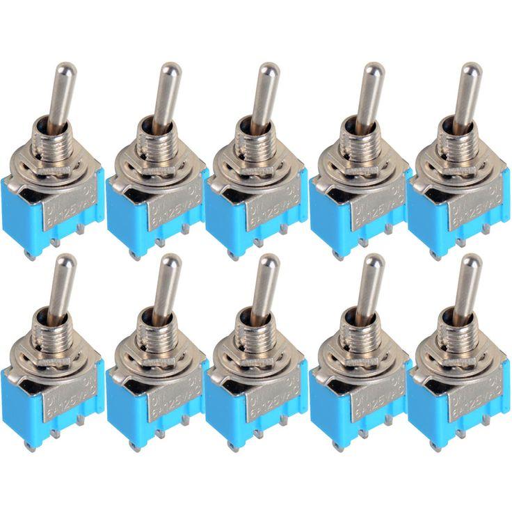 10 pc/LOT Azul Mini MTS-102 3-Pin SPDT ON-ON 6A $ number v Miniatura Interruptores de Palanca VE067 P
