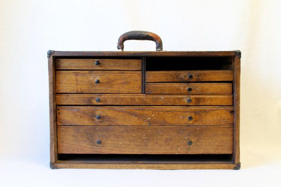 1930s Machinist Wood Tool Box Small Parts by shopkeeparlington