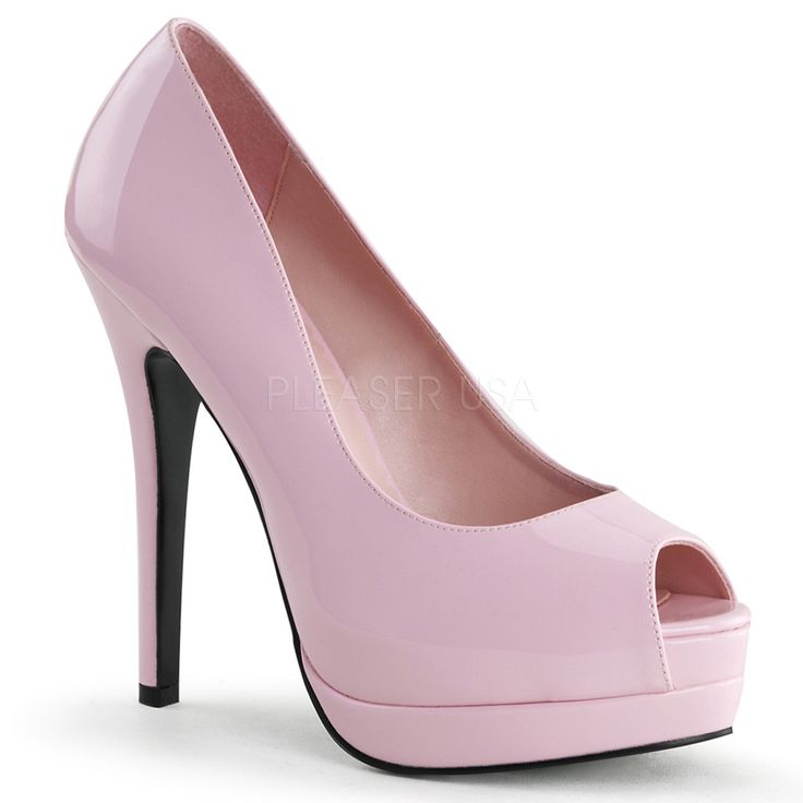 """Bordello's Baby Pink Peep Toe Pumps with 5 1/4"""" Heel with 1 1/2"""" Hidden and Exposed Platform."""
