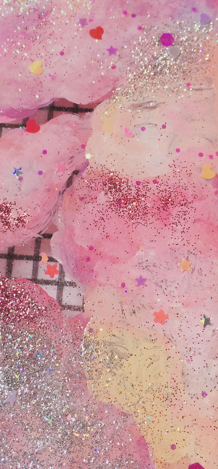 Pink Confetti and Glitter Texture | Candy Overlay | Pastel Stars & Hearts | Glittery | Sparkles | Feminine & Cute