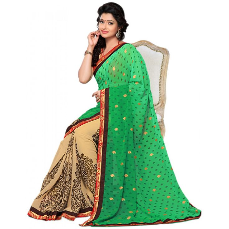Fashionx Green Printed exclusive saree with lace border