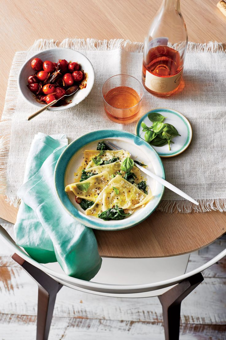 Basil-Ricotta Ravioli with Spinach   Wonton wrappers are the convenience item you never knew you absolutely needed. Beyond traditional wontons (usually a filling of ground chicken, scallions, and sesame oil), try any sweet or savory filling and bake, sear, or simmer. The wrappers are delicate, so handle gently and be careful not to overfill. You also won't want to bury these tender dumplings in sauce—a sprinkle of Parmesan and olive oil is all you need.