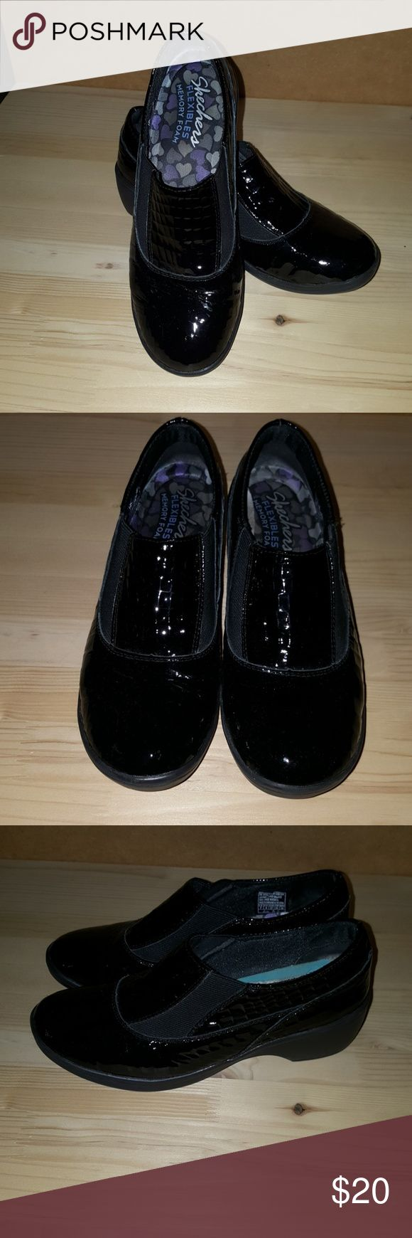 SKECHERS Black Patent Leather These adorable Skechers are super comfy, but I no longer reach for them,  so my loss is your gain.  They are in awesome shape, and ready to make someone very happy! Skechers Shoes Wedges