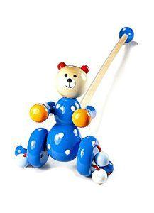 Jouet enfant en bois ours bleu jouets à pousser pour bébé garçons ou fille: Tweet Cet ours bleu à pousser en bois de charme est l'un de nos…