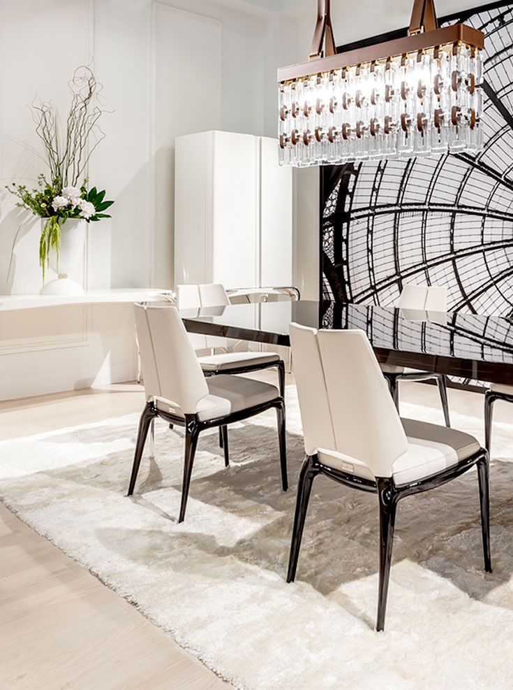 Paul Mathieu - Reflet suspension and Contour table and chairs www.luxurylivinggroup.com #PaulMathieu #LuxuryLivingGroup