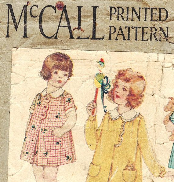 McCall 5177 Vintage 1920s Toddler Girl's Dress with Scallop Trim Front and Turned Back Cuffs - Printed Sewing Pattern Size 2