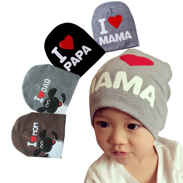 Novo inverno primavera outono eu amo mama papa bebê cap beanie crianças chapéu para recém-nascido 0 - 2 ano de idade do bebê boy grils, Crochet bonnet enfant