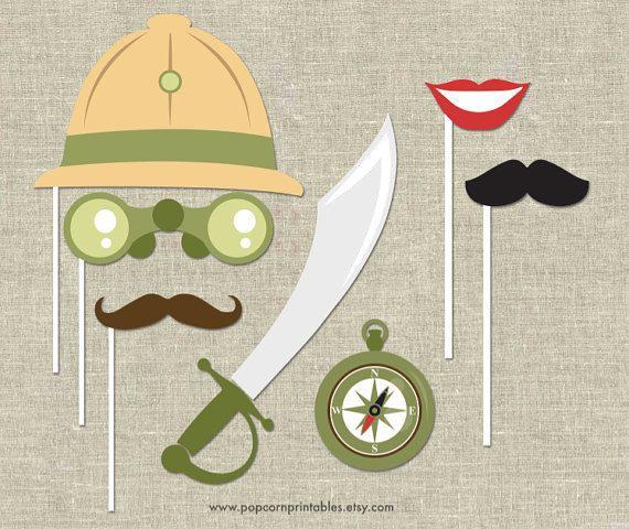 Safari Photo Booth Props Lips & Mustaches por PopcornPrintables