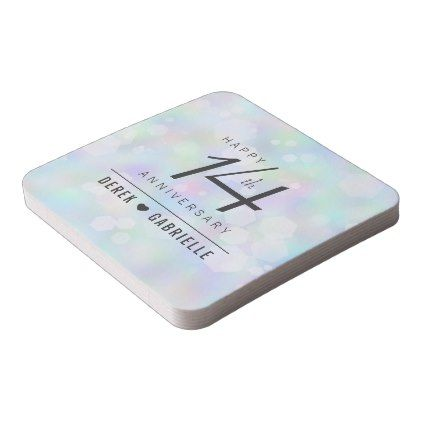 Elegant 14th Opal Wedding Anniversary Celebration Square Paper Coaster - confetti wedding wedding day party
