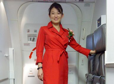 Delta Airlines Red Wrap Dress