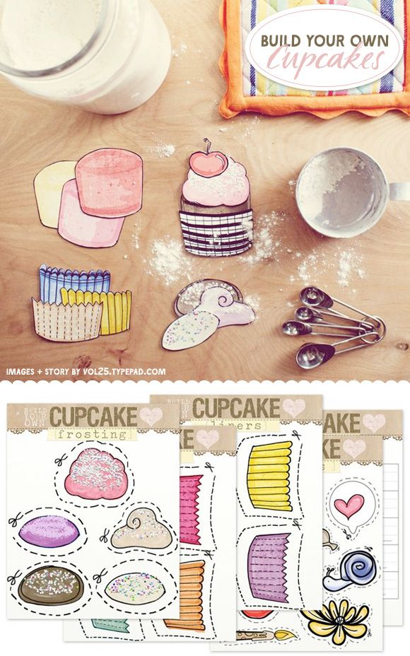 Cute Free Printable Build Your Own Cupcakes ...: Printable Building, Paper Cupcake, Paper Dolls, Free Cupcake Printable, Cupcake Builder, Printable Free Kids, Printable Free Paper, Printable Parties Free, Free Printable For Parties