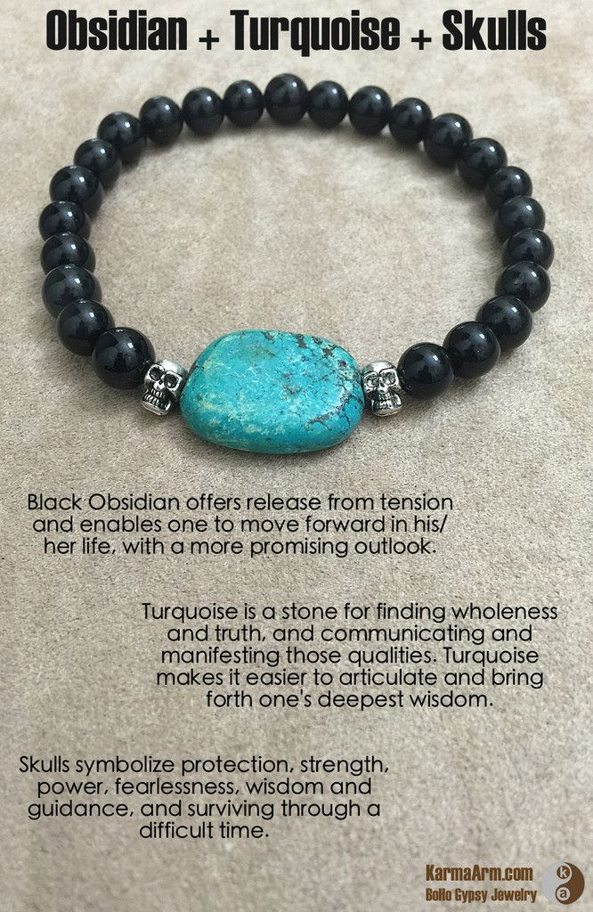 ~☆~ Turquoise is a stone for finding wholeness and truth, and communicating and manifesting those qualities. Turquoise makes it easier to articulate and bring forth one's deepest wisdom. ~☆~  ~☆~ Black Obsidian offers release from tension and enables one to move forward in his/her life, with a more promising outlook. ~☆~  ~☆~ Skulls symbolize protection, strength, power, fearlessness, wisdom and guidance   CREATE SOLUTIONS: Black Obsidian + Turquoise + Skulls Yoga Mala Bracelet