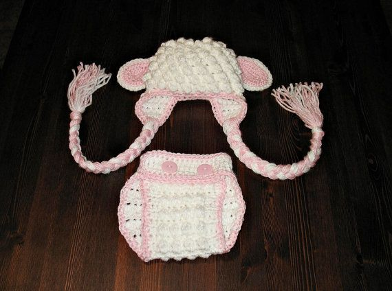 Newborn Lamb Hat and Diaper Cover Easter by DeesCozyCreations