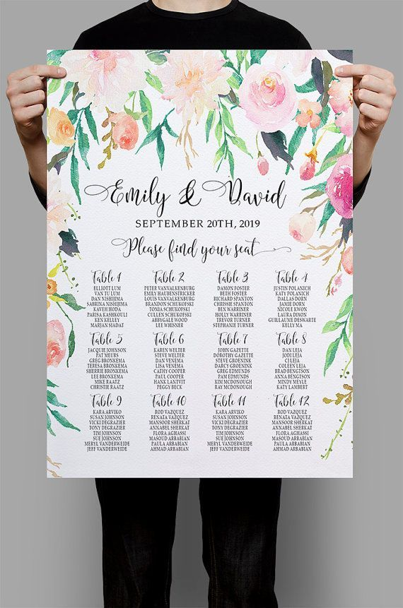 Personalized Wedding Seating Chart Table Romantic Garden floral Seating plan printable watercolor Table plan Wedding Decor DIY digital files