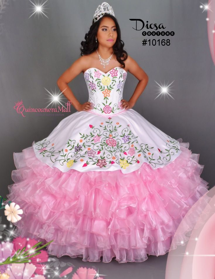 932b782de6b Multi Color Flowers Quinceanera Dress  10168JES