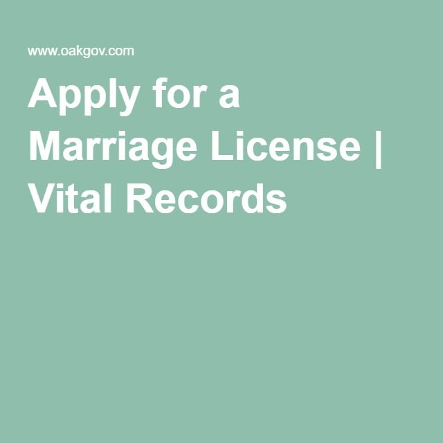 Apply for a Marriage License | Vital Records