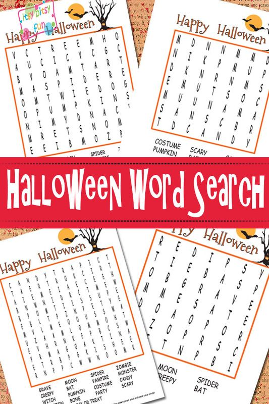 Halloween Word Search Puzzles Free Printable