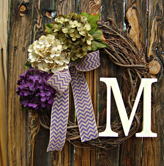 Hydrangea Door Wreath with Monogram - Purple Cream and Green Wreath - Wreaths - Year Round Wreath - Purple Chevron Bow - Etsy Wreath