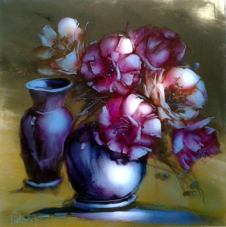 Aranyos virágok, 50x50cm, olaj/polimetakrilát