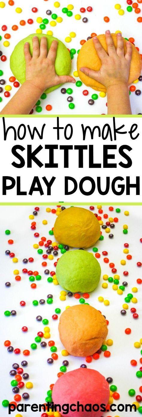 How to Make Skittles Playdough - Super Simple! I am loving this NO COOK Playdough Recipe