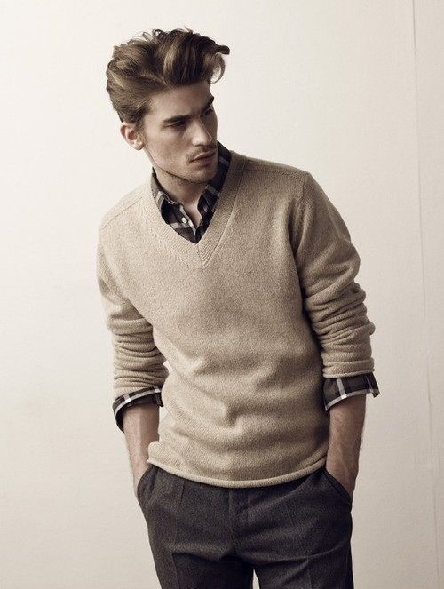 The sweater over a button up shirt is always a good look for Sweater over shirt men