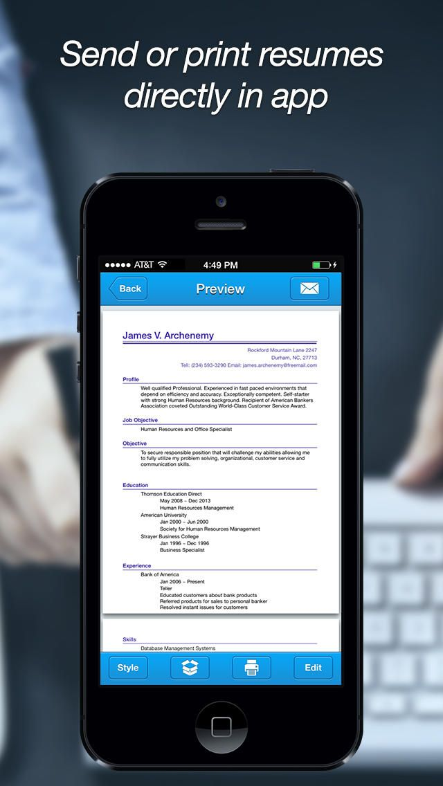 Quick Resume Pro U2013 Resumes Maker And Designer App  Mobile Resume Builder