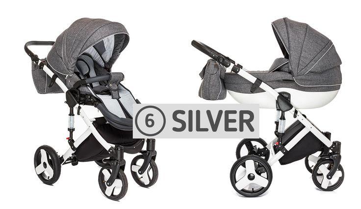 Auf dem Foto, der #Kinderwagen ALFA SILVER 2in1. In unserem Angebot sind vorhanden: Adapter für die Montage der Kinderautositze: MAXI COSI, CYBEX, ROMER (INBEGRIFFEN).  #Kinderbuggy #Kombination2in1 #Babyartikel #Tragetasche
