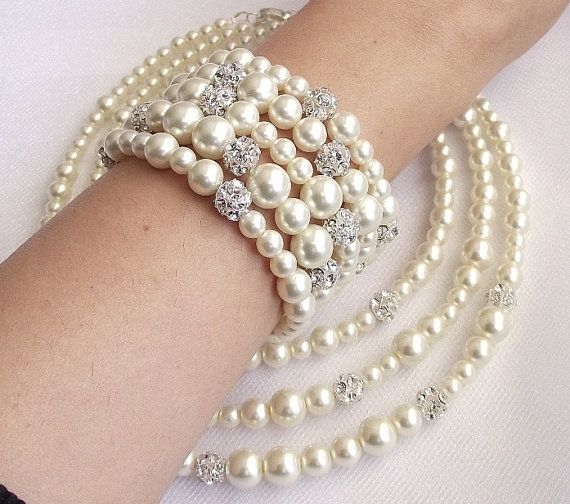 3 strand wedding necklace bridal necklace pearl and by nellylukan, $62.00