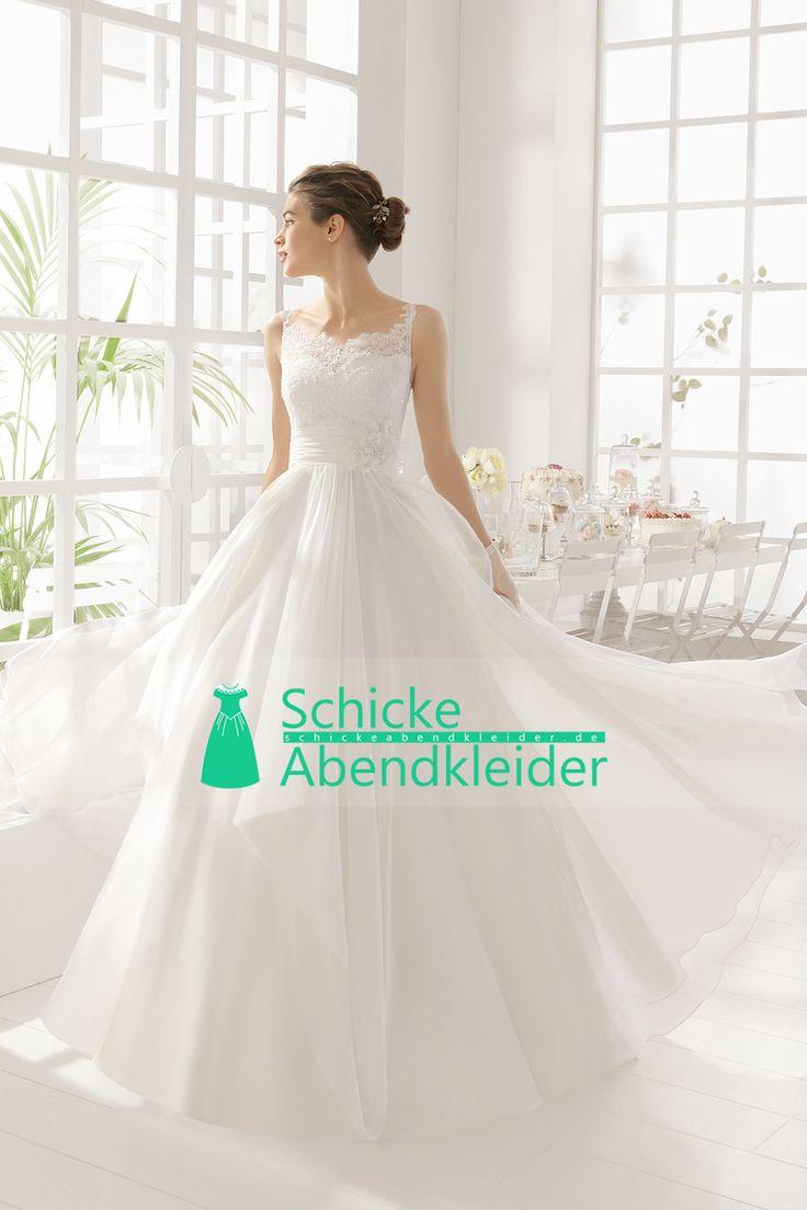 2016 Spaghetti-Trägern mit Applikationen und handgemachte Blumen Chiffon- eine Linie Hochzeits-Kleider