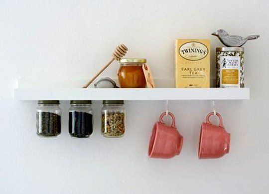 We love this little tea station! --> 20 Ways to Use IKEA's RIBBA Picture Ledges All Over the House | Apartment Therapy