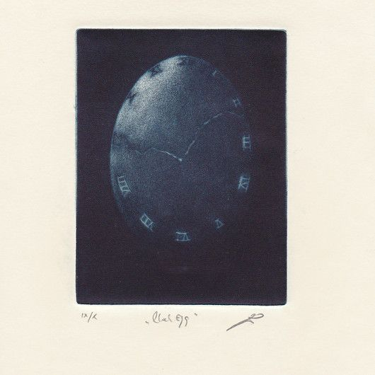 Artistic handmade card from Jan Černoš: Clock Egg. Mezzotint.