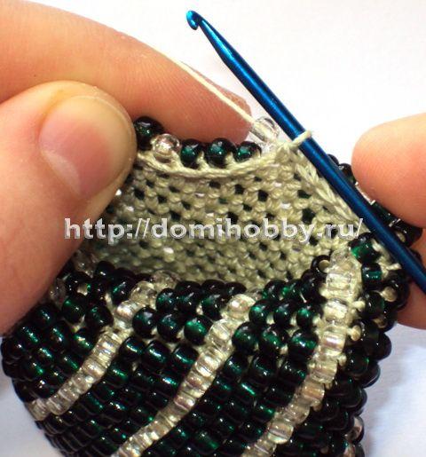 Вязание с бисером, чехол для телефона