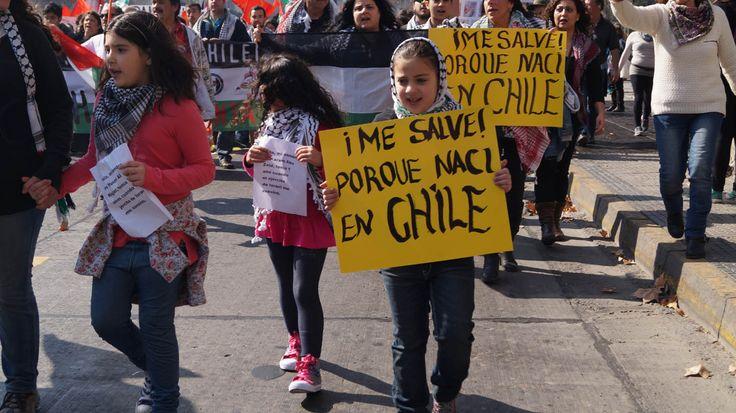 Descendientes de Palestinos marcharon en Santiago Chile.