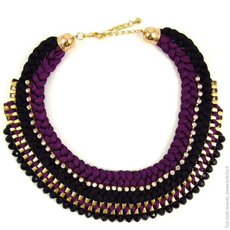 Collier plastron Double Tresse bicolore. Noir/Violet - Bijoux Fantaisie/Colliers courts - Bulle2co