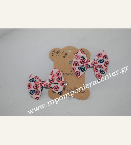 Κοκαλάκι μαλλιών - πιαστράκι με κλίπ & υφασμάτινο φιόγκο λουλούδια vintage