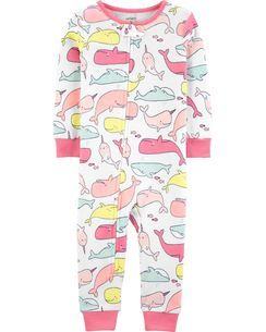 0fc4448e6176 1-Piece Whale Snug Fit Cotton Footless PJs