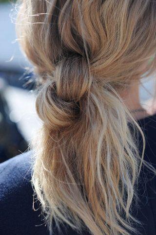 O_-: Hair Ideas, The Knot, Long Hair, Hairknot, Hairstyle, Hair Style, Hair Knot, Ponies Tail, Knot Ponytail