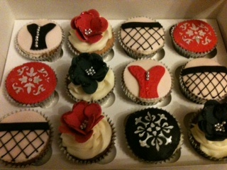 Baileys Cupcakes with burlesque themed decorations from the Polka Dot Kitchen :)