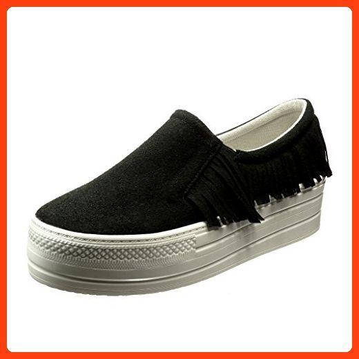 Angkorly - damen Schuhe Sneaker - Plateauschuhe - Slip-On - Franse Keilabsatz high heel 5 CM - Schwarz 633-1 T 37