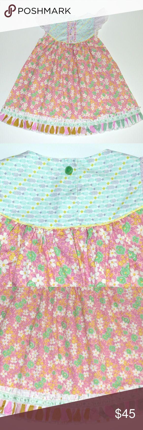 "Matilda Jane Platinum 4 Bonnie Flutter Dress Lavender Pink Mint Floral  Excellent condition 100% cotton Seam to seam across chest:  12.5"" Top of shoulder to bottom (length): 21.5""  (approx) Matilda Jane Dresses Casual"
