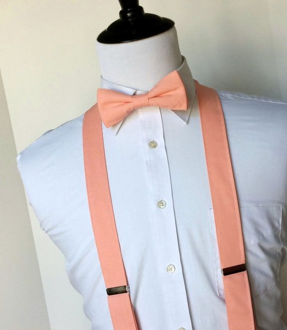 Peach Bowtie and Suspenders Set Men Teen Youth by kellybowbelly