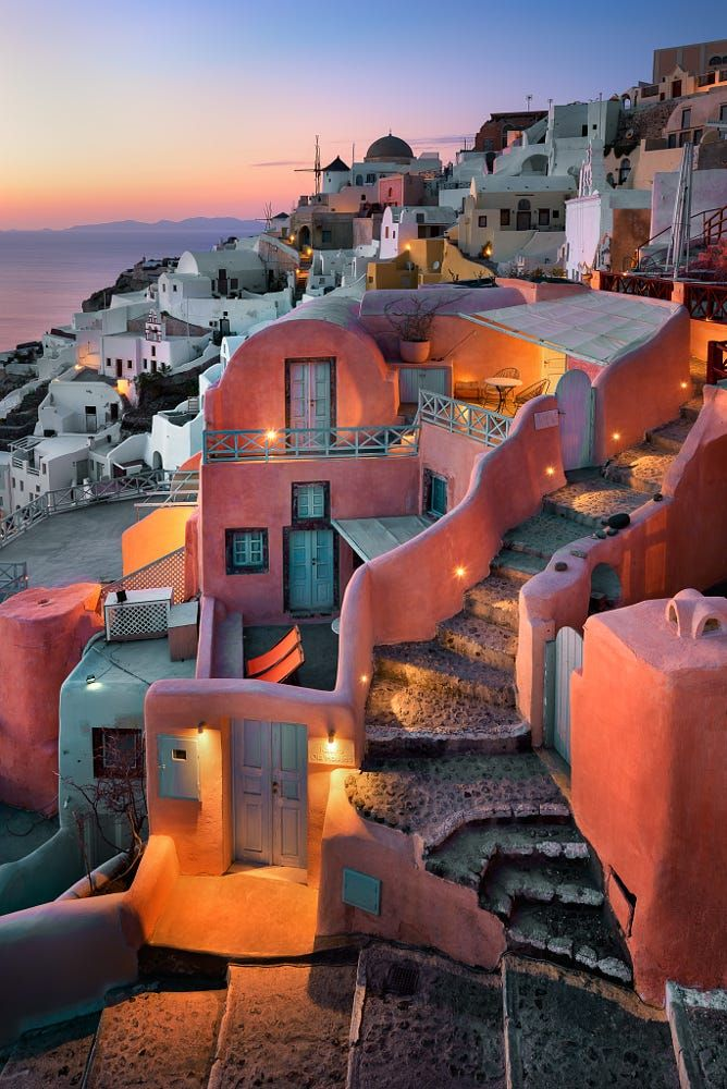 Evening in Oia, Santorini, Greece Kastro oil houses. Stayed there. Loved it!