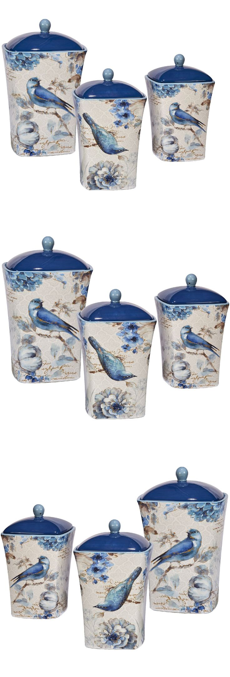 the 25 best ceramic canister set ideas on pinterest canisters canisters and jars 20654 kitchen canister jar set bluebird and floral ceramic hand painted bird