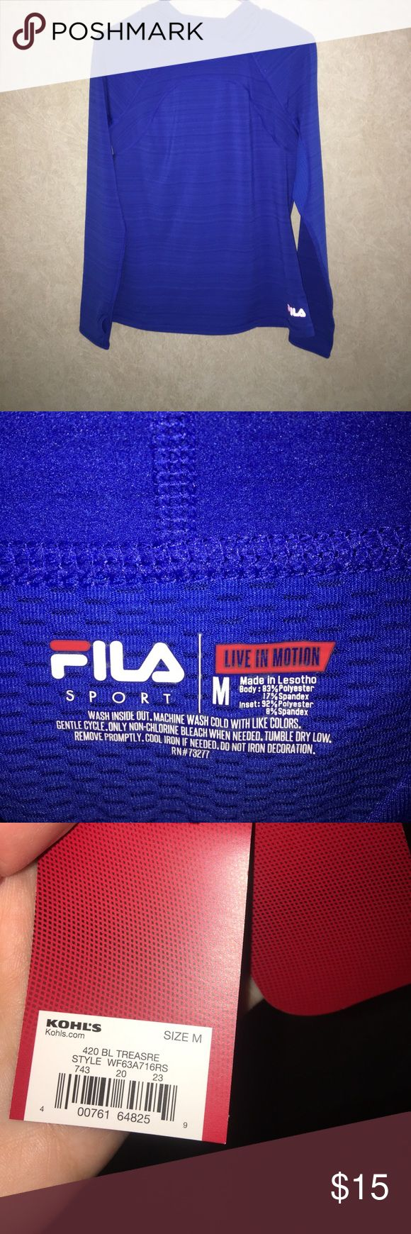 NWT FILA Athletic Hoodie Brand new thin hoodie great for working out in or just to wear. Received this as a gift but it's too small for me. Has a convenient zipper on the back side and is lightly fleeced lined. Any other question can be left in the comments😊 Offers accepted 💕 Fila Tops Sweatshirts & Hoodies