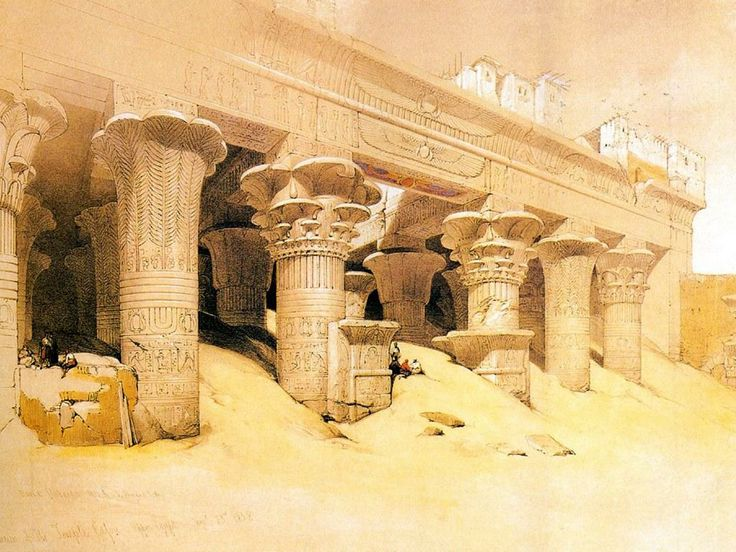17 best images about david roberts on pinterest for Egyptian mural paintings
