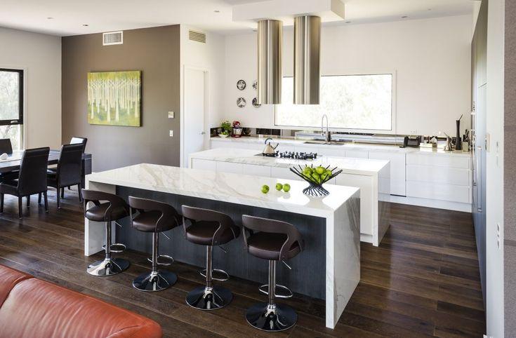 Modern Kitchen Twin Islands Marble Bench Top Modern