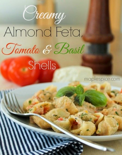 (serves 1)� 75g shells� 1 large clove garlic� 2 medium tomatoes, cored and chopped� 1-2 Tbsp chopped fresh basil� about 30g almond feta� salt and pepper to tasteWell, after the Baby Spinach Salad with Sage Roasted Sweet Potato, Walnuts and Almond Feta recipe consider this part 2 of things to make with leftover almond feta! I got this recipe at http://porkrecipe.org/posts/67802-creamy-almond-feta-tomato-and-basil-shells