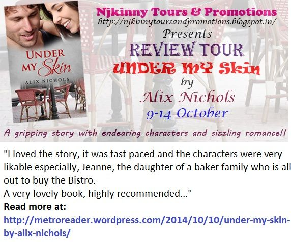 #BookReview #UnderMySkin by @Aalix_Nichols on @Metro_reader's blog http://metroreader.wordpress.com/2014/10/10/under-my-skin-by-alix-nichols/ Enter #Giveaway to win $15 Amazon GC..  #ReviewTour #Romance